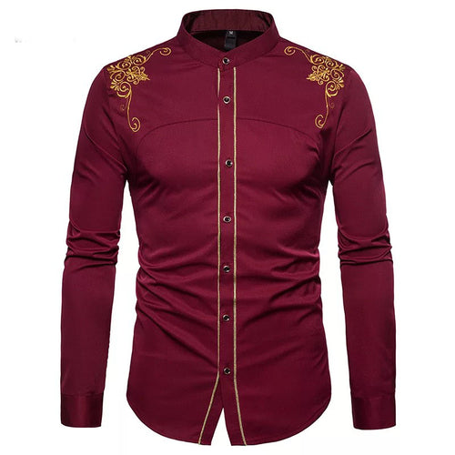Men's Tops - Fashion Embroidered Solid Stand Collar Shirt