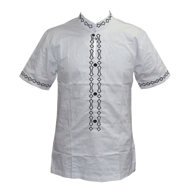 Men's Tops - Stand Neck Short Sleeve Embroidery Shirts