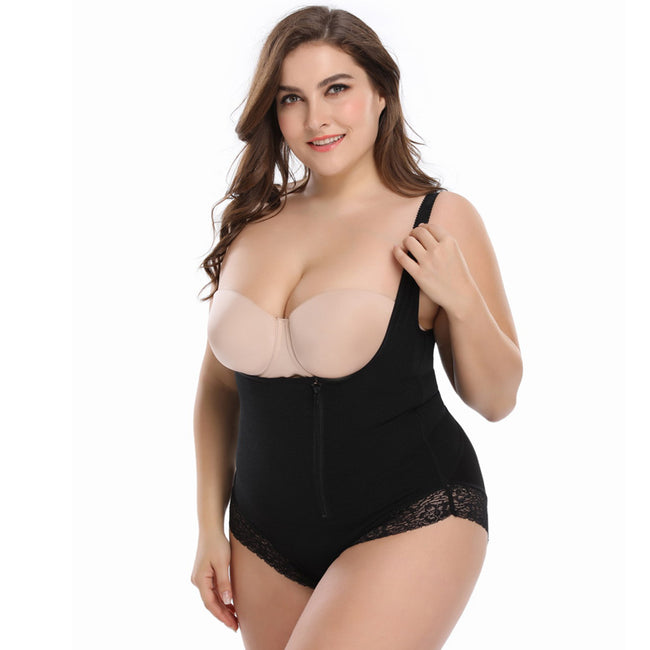 One-piece Girdle - Slimming Waist Side Zipper Lace Corset