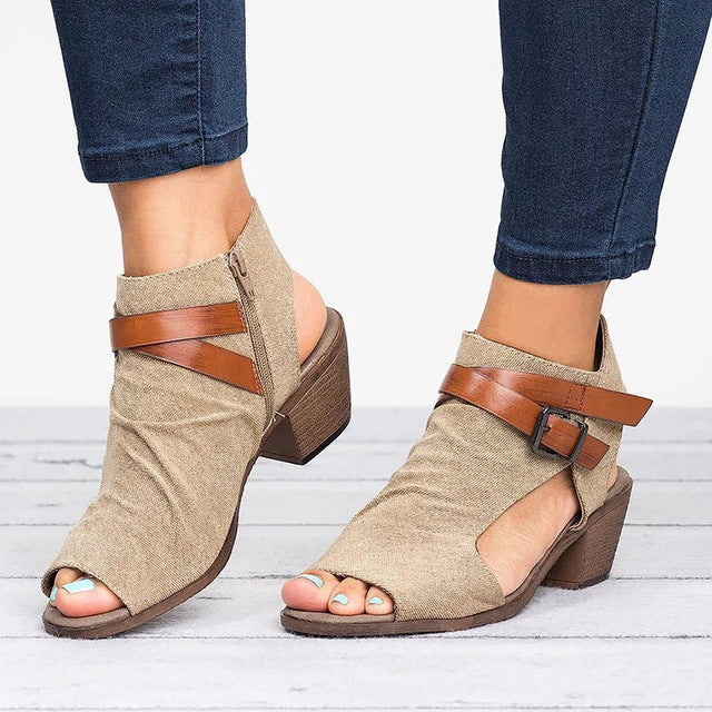 Sandals - Peep Toe Roman Style Buckle Flat Sandal With Plus Size