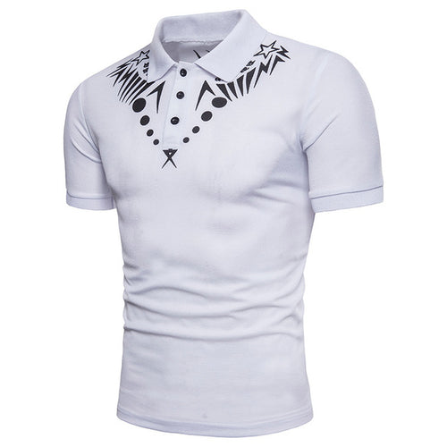Men's Tops - Stylish Geometric Print Polo Shirt