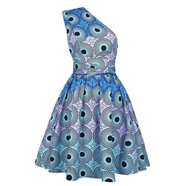 Dress - African Print A Line Adjustable Shoulder Strap Dress