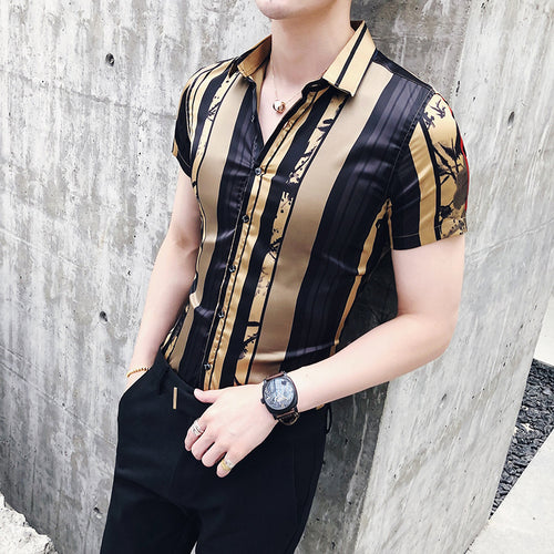 Men Clothing - Luxury Gold Black Short Sleeve Fashion Designer Men Shirts
