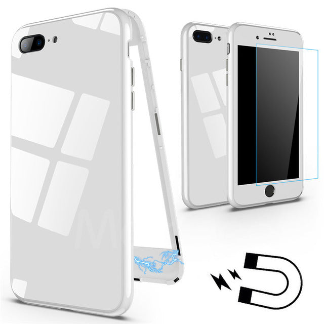more photos 07354 0990a iPhone Case - 360 Degree Magnetic Adsorption Case With Tempered Glass