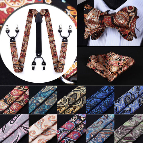 Men Accessory - Classic Suspenders Self Bow Tie And Pocket Square Set