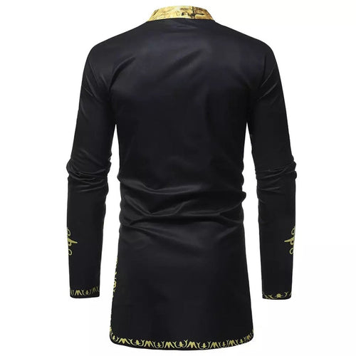 Men's Top - African Dashiki Print Black Golden Long Shirt