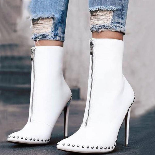 Ankle Boots - New Arrival Autumn Rivet High Heels Ankle Boots