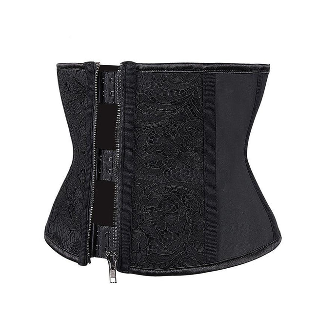 Waist Trainer - 9 Steel Boned Floral Lace Latex Waist Trainer