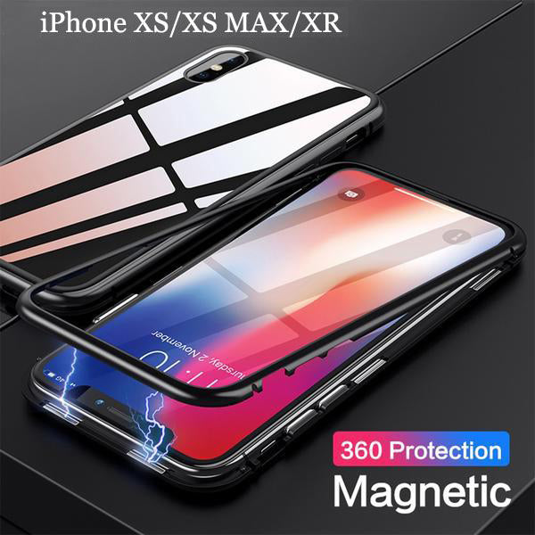 best website 7452a a8ea1 iPhone Case - Magnetic Adsorption Flip Tempered Glass Case For iPhone XS  /XR /XS MAX