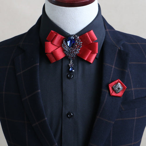 Bow Tie - Double Ribbon Collar Bow Tie for Mens
