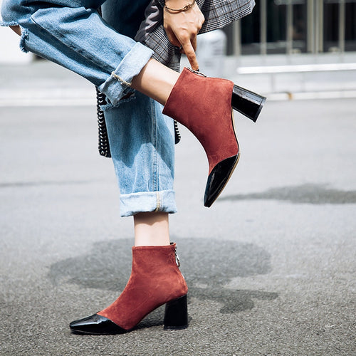 Ankle Boots - Square Toe High Heel Fashion Boots