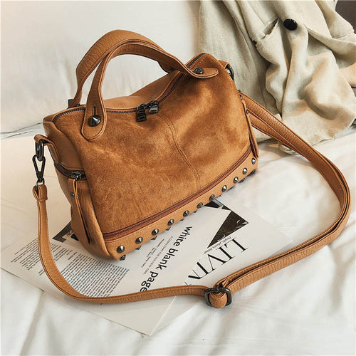 Bag - Women Top-Handle Leather Bags with Rivets