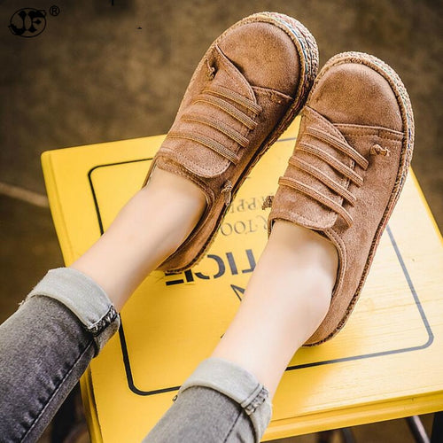 Casual Shoes - Women Autumn Lace-up Comfortable Flats
