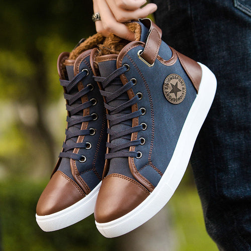 Casual Boots - Warm Fur Winter High Top Canvas Casual Boots