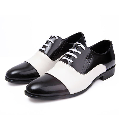 Dress Shoes - White Black Male Soft Leather Wedding Party Oxford Shoes