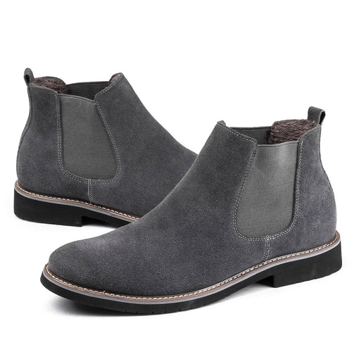 Men's Boots - Leather Winter With Fur Fashion Chelsea Boots