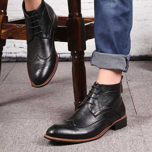 Men Shoes - Lace-up Sewing Western Style Ankle Boots