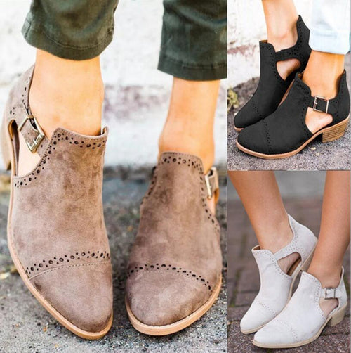 Ankle Boots - Low Square Heels Ankle Boots