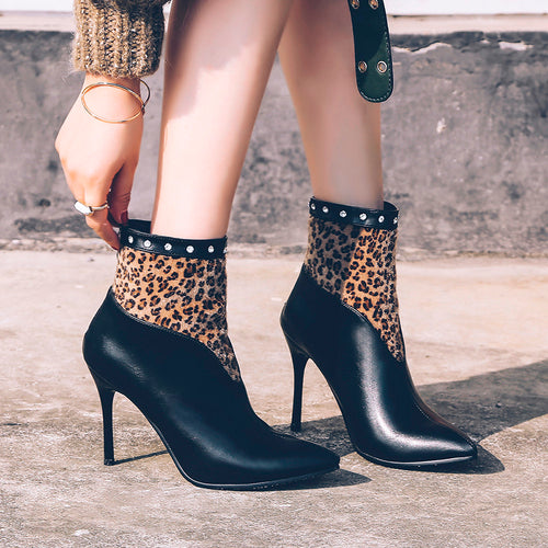 Ankle Boots - Pointed Toe High-Heeled Leopard Rivet Ankle Boots