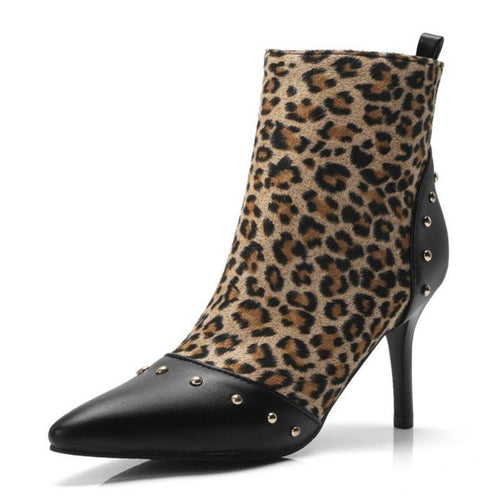 Ankle Boots - High Heel Rivets Patchwork Leopard Fashion Ankle Boots