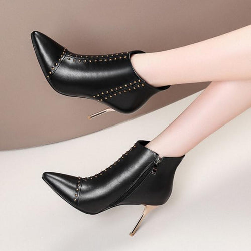 Ankle Boots - Leather Pointed Toe Sexy High Heels Boots