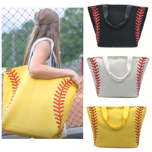 Bags - Super Large Softball Baseball Canvas Cotton Tote Bags