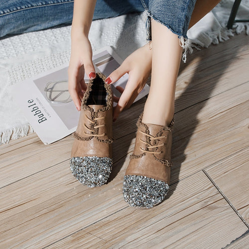 Flats - Women Crystal Low-cut Round Toe Flat Shoes