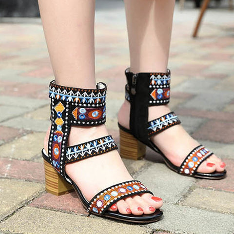 0f2f6f3dfd91 Sandals - Elegant Ankle Strap Side Zipper Square High Heels Sandals.  48.99  USD.  89.99 USD. Boot - Double Buckle PU ...