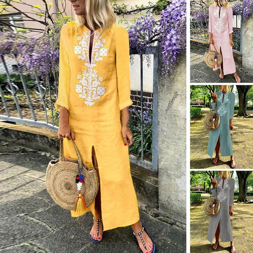 Dress - Casual Long Sleeve Flower Printing Dress