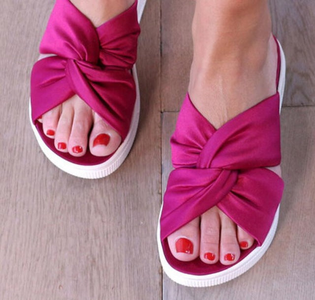 Slippers - Peep Toe Flatform Slippers