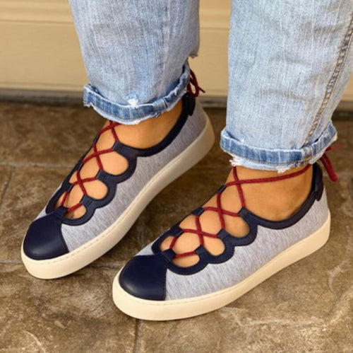 Flats - Casual Cross-tied Lace Up Shoes