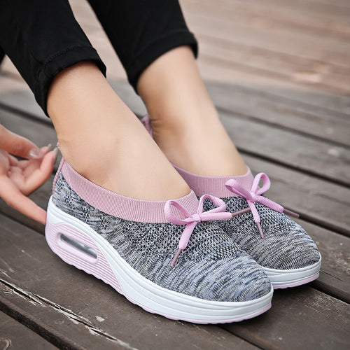 Sneakers - New Flat Platform Bowknot Plus Size Shoes