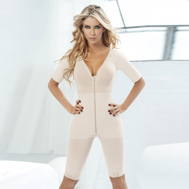 Shapewear - Full Body Shaper Beige Slimming Pants Arm Zipper Women Corset