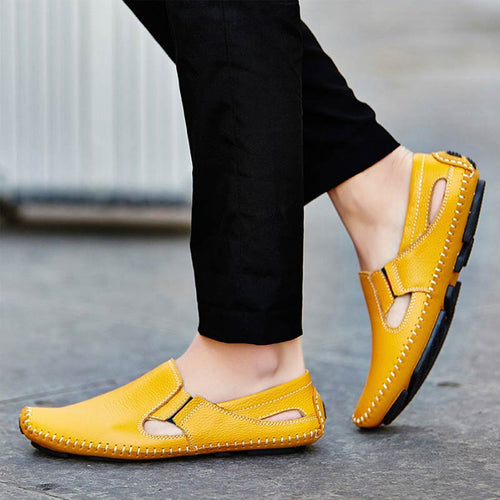 Men's Shoes - Summer Casual Slip-on Leather Driving Shoes