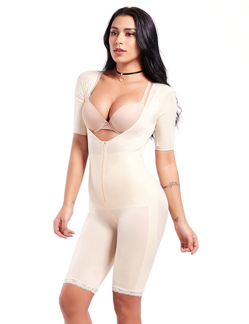 aa4a4a993 Super Faddish Deep V Neck Half Sleeve Full Body Shaper Front Zipper Best  Materials