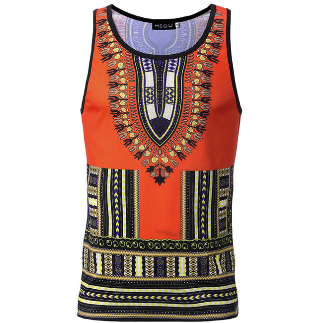 Men's Tops - African Dashiki Print Slim Vest