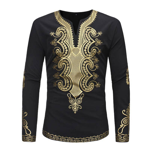 Men's Tops - Dashiki Gold Print Round Collar Slim Men's T-Shirt