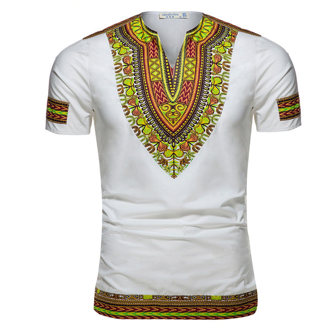 Men's Tops - Dashiki Knitting Stitching Batik Printing Short sleeve T-shirt