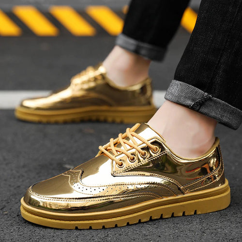 Sneakers - Gold Brogue Casual Shoes Men Sneakers