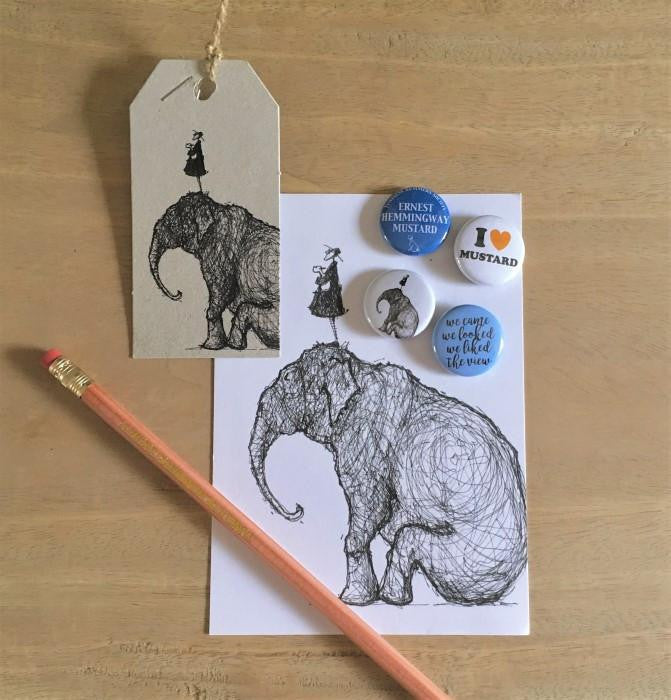 Badge, Pencil and Postcard Set