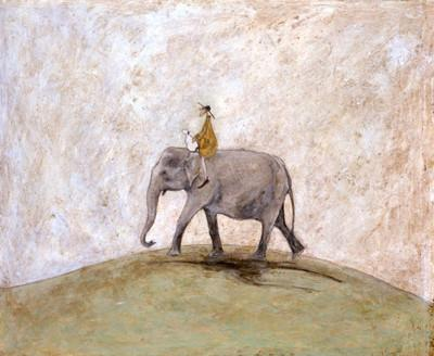 Over the Hill on an Elephant by Sam Toft