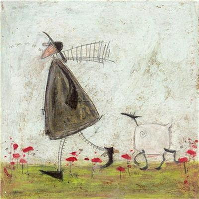 Walking the Sheepster - Canvas Print by Sam Toft