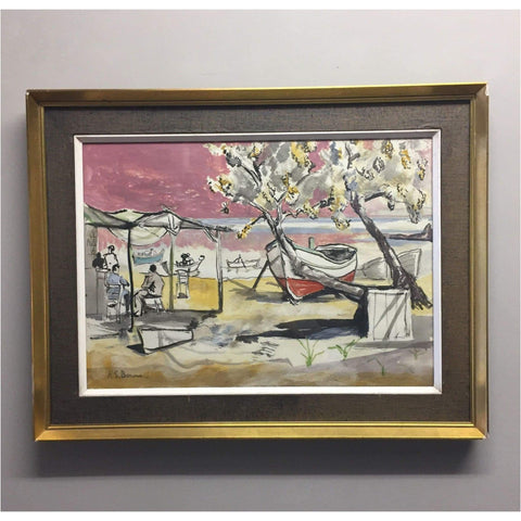 H.S. Bourne Beach Scene with Boats - Art
