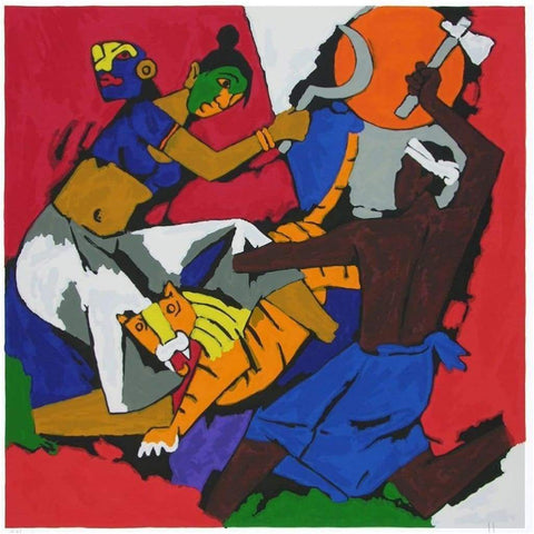 Art - M.F. Husain, Kerala II With Tiger