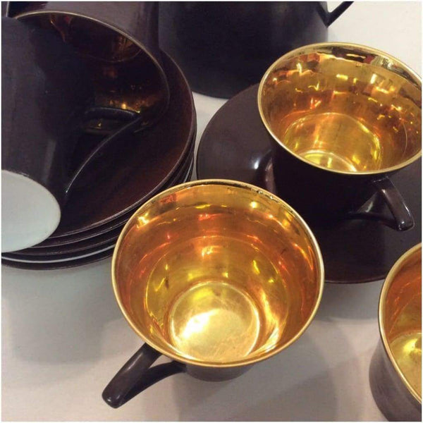Ceramics - Limoges Art Deco Gold Coffee Cups