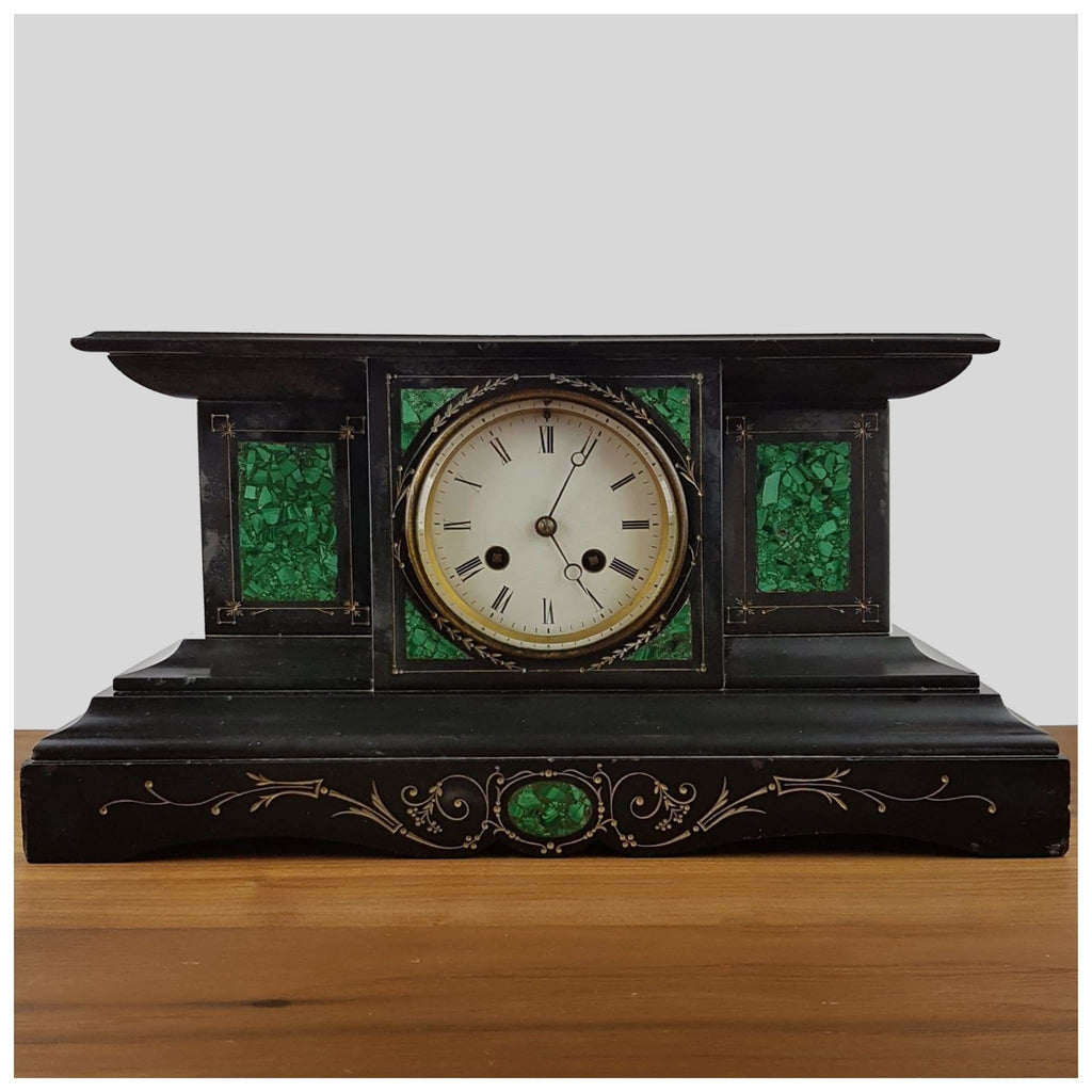 Clocks - Black Slate Victorian Mantel Clock