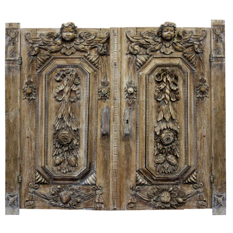 Furniture - C19th Continental Limed Oak Armoire Doors