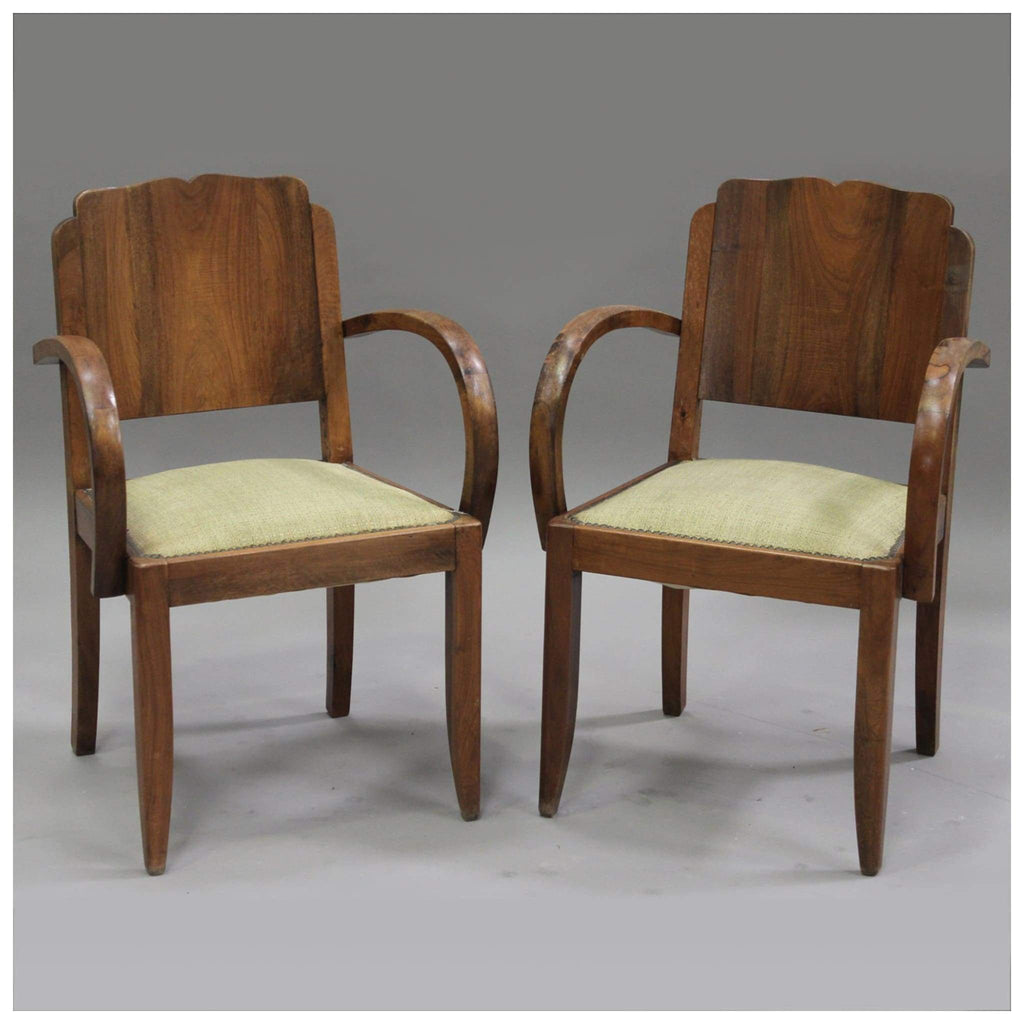 Furniture - Pair Of French Art Deco Walnut Chairs