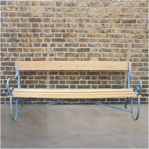 Garden - Mid C20th Scroll Wrought Iron And Oak Slatted Bench