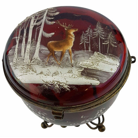 Glass - Victorian Cranberry Glass Dresser Box